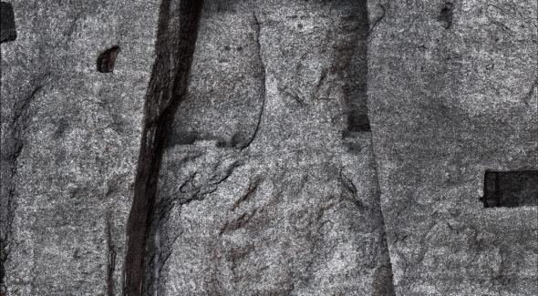 Image vectorielle du petit Bouddha de Bamiyan après sa destruction par les Talibans le 11 mars 2001. détail.