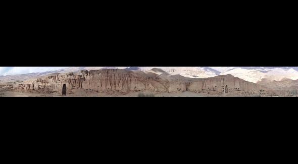 Panoramique de la falaise de Bamiyan